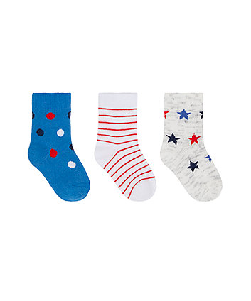 Mothercare Spots And Stars Socks - 3 Pack