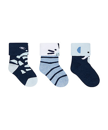 Mothercare Animal Faces Turn-Over-Top Socks - 3 Pack