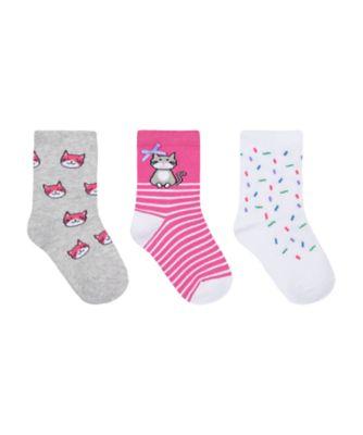 Mothercare Girls Novelty Cat Socks - 3 Pack