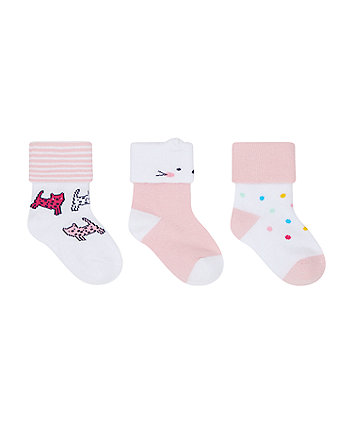 Mothercare Leopard Turn-Over-Top Socks - 3 Pack