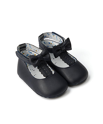Mothercare Navy High-Back T-Bar Pram Shoes