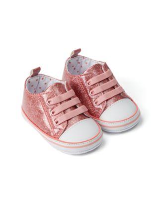 Mothercare Baby Girl Coral Glitter Pram Trainer
