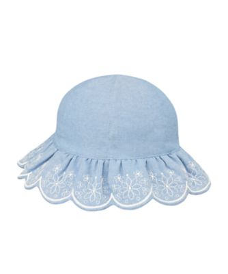 Mothercare Girls Denim Embrodered Sun Hat