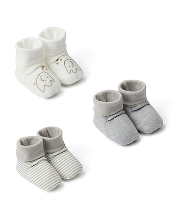 Mothercare My First Sock Top Baby Booties - 3 Pack