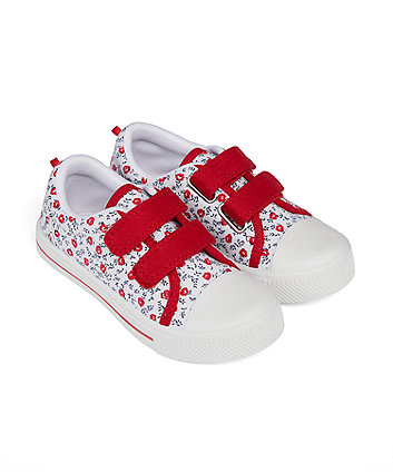 Mothercare Red Ditsy Floral Canvas Shoes