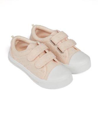 Mothercare Girls Pink Broderie Double Velcro Canvas Shoe