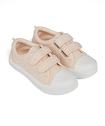 Mothercare Pink Broderie Canvas Shoes