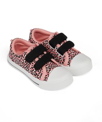 Mothercare Girls Pink Animal Print Double Velcro Canvas Shoe