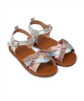 Mothercare Girls Rainbow Metallic Twsited Sandal
