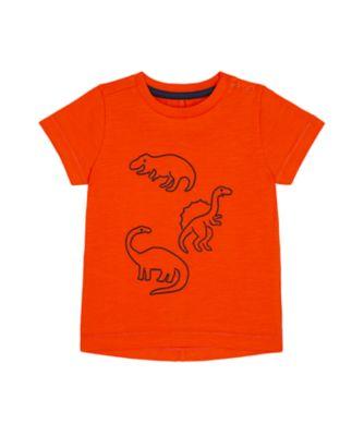 Mothercare Denim Dino Orange Dinosaur Outline Short Sleeve T-Shirt