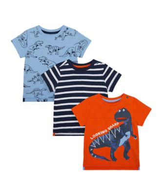 Mothercare Denim Dino Short Sleeve T-Shirts - 3 Pack