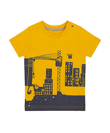 Mothercare Mustard Construction T-Shirt