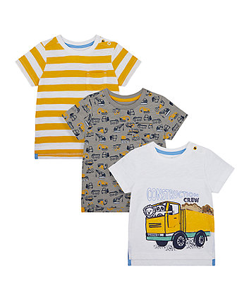 Mothercare Construction Crew T-Shirts - 3 Pack