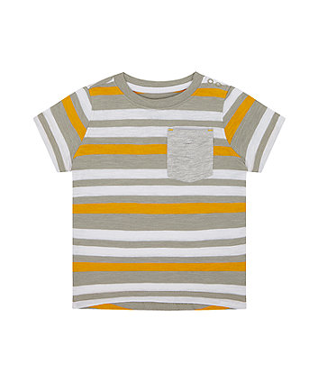 Mothercare Mustard And Grey Striped T-Shirt
