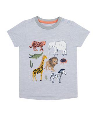 Mothercare Travel Blog Blue Multi Animal Short Sleeve T-Shirt