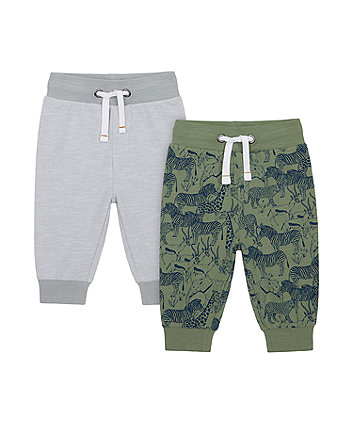 Mothercare Striped And Safari Joggers - 2 Pack