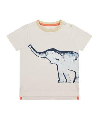 Mothercare Travel Blog Elephant Foil Stripe Short Sleeve T-Shirt