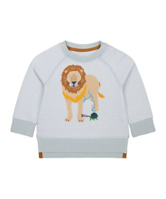 Mothercare Travel Blog Blue Stripe Lion Sweater