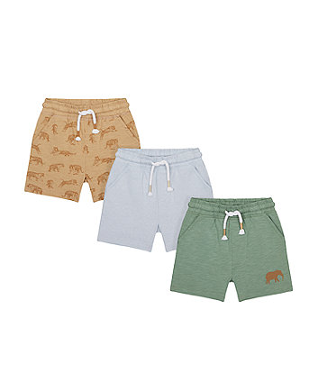 Mothercare Tiger, Elephant And Stripe Shorts - 3 Pack