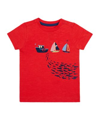 Mothercare Nautical Red 3 Boat Epp Short Sleeve T-Shirt