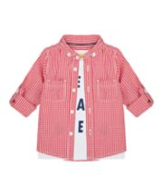 Mothercare Red Shirt And Best Day Ever T-Shirt Set