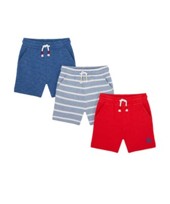 Mothercare Nautical Stripe Plain Shorts - 3 Pack