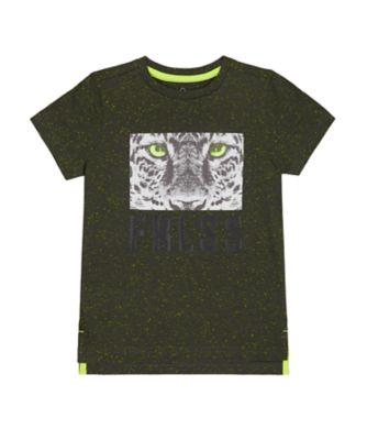 Mothercare Tropic Cool Black Nep Leopard Frlss Short Sleeve T-Shirt