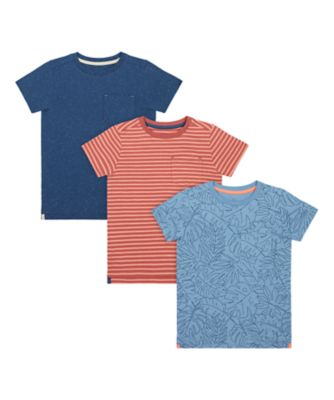 Mothercare Earth Surf Palm Stripe Short Sleeve T-Shirt - 3 Pack