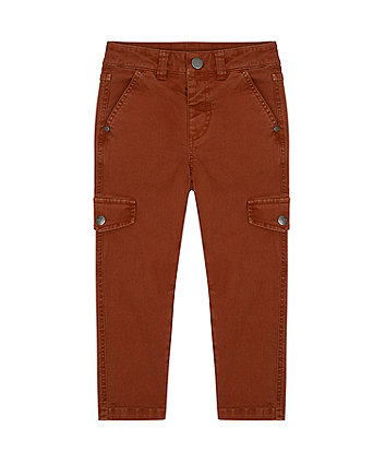 Mothercare Brown Slim Cargo Trousers