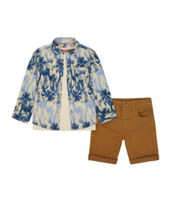 Mothercare Earth Surf Palm Print Shirt, T-Shirt And Short Set