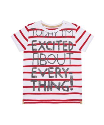 Mothercare Crimson Stone Stripe Reverse Print Short Sleeve T-Shirt
