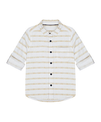 Mothercare White Striped Linen Mix Shirt