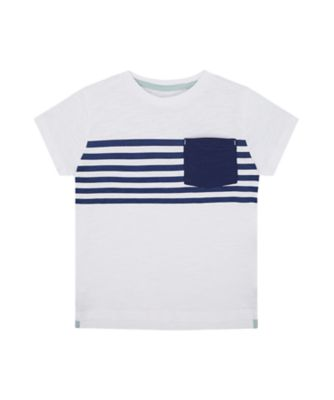 Mothercare Yacht Club White Navy Stripe Short Sleeve T-Shirt