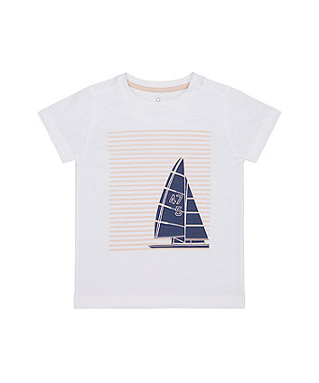 Mothercare White Boat T-Shirt