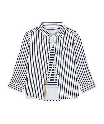Mothercare Striped Shirt And T-Shirt Set