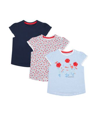 Mothercare Swan Lake Stripe, Floral And Navy Short Sleeve T-Shirt - 3 Pack