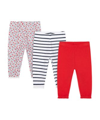 Mothercare Swan Lake Allover Print, Stripe And Red Leggings - 3 Pack