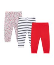 Mothercare Red, Stripe And Floral Leggings - 3 Pack