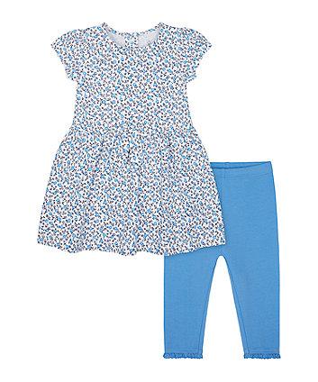 Blue Floral Dress And Leggings Set [SS21]