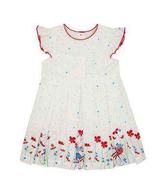 Mothercare Swan Lake White Border Print Short Sleeve Dress