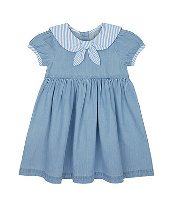 Mothercare Chambray Dress With Striped Collar