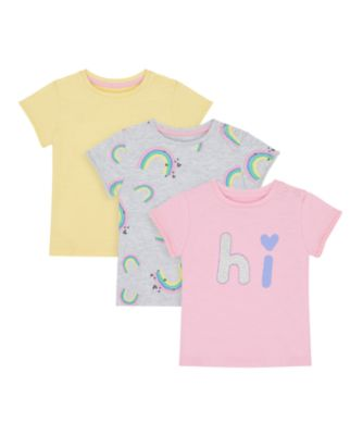Mothercare Just Pretend Pink, Allover Print And Yellow Short Sleeve T-Shirt - 3 Pack