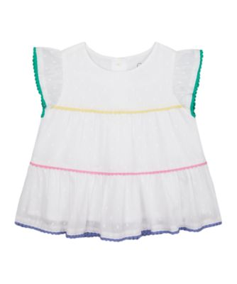 Mothercare Just Pretend Pom Trim Tiered Blouse Short Sleeve