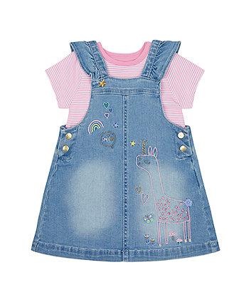 Mothercare Llama Denim Pinny Dress And T-Shirt Set