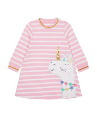 Mothercare Just Pretend Pink Stripe Horse Loopbacd Sweat Dress