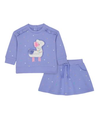 Mothercare Just Pretend Purple Spot Loopback Sweater And Skirt Set