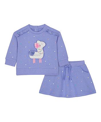 Mothercare Llama Sweat Top And Skirt Set