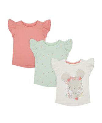 Mothercare Spring Meadow White, Green And Pink Short Sleeve T-Shirt
