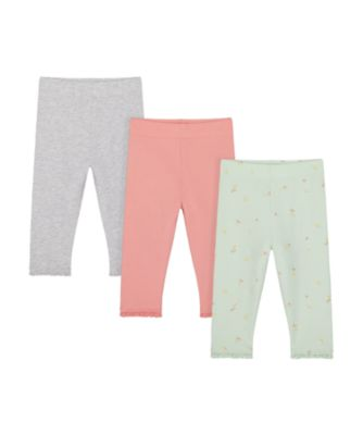 Mothercare Spring Meadow Green, Pink And White Leggings - 3 Pack