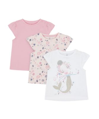 Mothercare Save Our Seas White, Allover Print And Pink Short Sleeve T-Shirt - 3 Pack